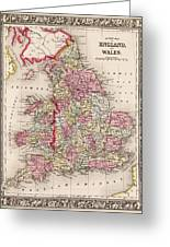 1800s Wales County Map Wales England Color Greeting Card