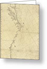 1807 North America Coastline Map Greeting Card