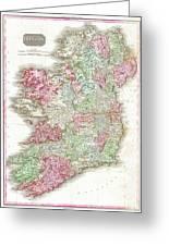 1818 Pinkerton Map Of Ireland Greeting Card