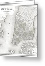 1839 New York City Map Greeting Card