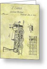 1845 Locomotive Patent Greeting Card