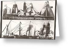 1850 European Sailing Ship Greeting Card