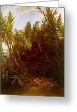 1856-57 Pan Amongst The Reeds Arnold Bcklin Greeting Card