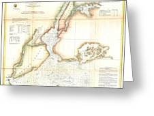 1857 Coast Survey Map Of New York City And Harbor Greeting Card