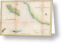 1857  Coast Survey Map Of The Eastern Entrance To Santa Barbara Channel Greeting Card