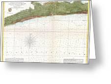 1857 U.s. Coast Survey Map Or Chart Of Mississippi City Harbor, Mississippi Greeting Card
