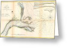 1857 U.s. Coast Survey Map Or Chart Of The Mouth Of St. Johns River, Florida Greeting Card
