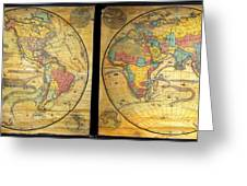 1858 Set Of Two Pelton Wall Maps, Western Hemisphere And Eastern Hemisphere  Greeting Card