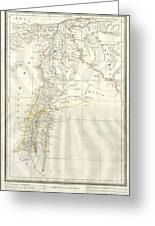1859 Alabern Map Of Israel, Palestine, Or Holy Land And Syria In Ancient Times Greeting Card