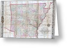 1859 Colton Pocket Map Of Arkansas  Greeting Card