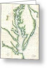 1859 U.s. Coast Survey Chart Or Map Of The Chesapeake Bay Greeting Card