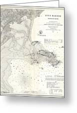 1859 U.s. Coast Survey Map Of Lynn Harbor, Massachusetts Greeting Card