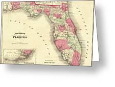 1864 Florida Map Color Greeting Card
