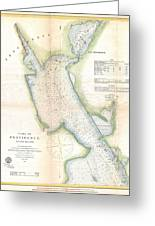 1865 Us Coast Survey Map Or Chart Of Providence Rhode Island Greeting Card