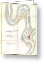 1865 Uscs Map Of The Mississippi River From Cairo Illinois To St Marys Missouri  Greeting Card