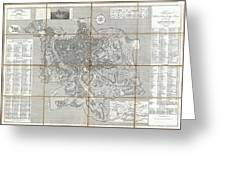 1866 Fornari Pocket Map Or Case Map Of Rome Italy Greeting Card