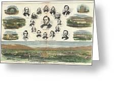 1866 Harpers Weekly View Of Salt Lake City Utah W Brigham Young Mormons Greeting Card