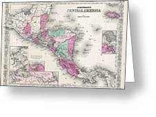 1866 Johnson Map Of Central America Greeting Card