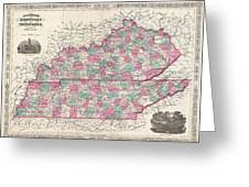 1866 Johnson Map Of Kentucky And Tennessee  Greeting Card