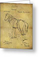 1868 Horse Harness Patent Greeting Card