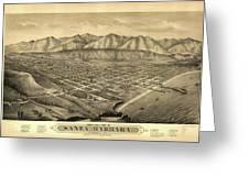 1877 Santa Barbara California Map Greeting Card