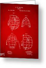 1878 Baseball Catchers Mask Patent - Red Greeting Card by Nikki Marie Smith