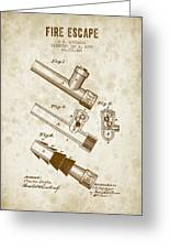 1885 Fire Escape Patent - Vintage Brown Greeting Card