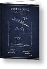 1885 Tuning Fork Patent - Navy Blue Greeting Card