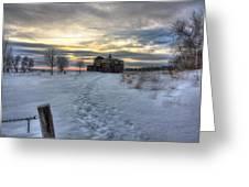 1888 Barn In Winter 01 Greeting Card