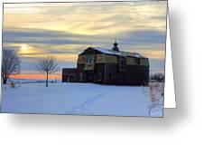 1888 Barn In Winter 02 Greeting Card