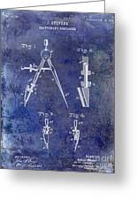 1888 Draftsmans Compass Patent Blue Greeting Card