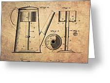 1889 Coffee Maker Patent Greeting Card