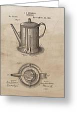 1889 Coffee Pot Patent Illustration Greeting Card