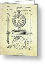 1889 Stop Watch Patent Art S. 1 Greeting Card