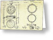 1889 Stop Watch Patent Art Sheets 1-2 Greeting Card