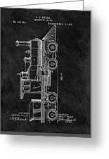 1891 Locomotive Engine Patent Greeting Card