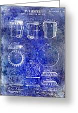 1892 Bottle Cap Patent Blue Greeting Card