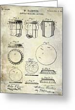 1892 Bottle Cap Patent  Greeting Card