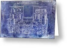 1897 Beer Brewering Patent Blue Greeting Card