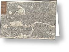 1899 Bacon Pocket Plan Or Map Of London  Greeting Card