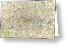 1899 Bartholomew Fire Brigade Map Of London England  Greeting Card