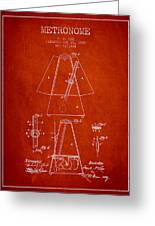 1899 Metronome Patent - Red Greeting Card