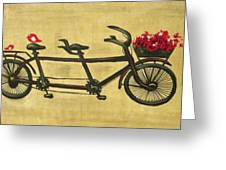 18x36 Premium Gallery Tandem Bicycle Painting With Red Birds Red Flowers Greeting Card