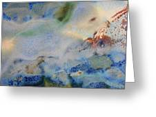 19. Blue Green Brown Abstract Glaze Painting Greeting Card