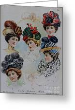 19 Century Ladies Hats The Delineator Early Autumn Hats Greeting Card