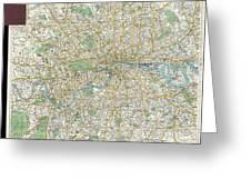 1900 Bacon Pocket Map Of London England  Greeting Card