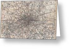 1900 Gall And Inglis' Map Of London And Environs Greeting Card