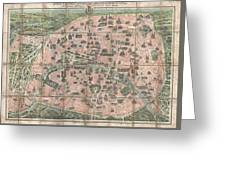 1900 Garnier Pocket Map Or Plan Of Paris France  Eiffel Tower And Other Monuments  Greeting Card