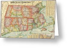 1900 National Publishing Railroad Map Of Connecticut Massachusetts And Rhode Island  Greeting Card