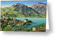 1900s Switzerland Swiss Alps Spiez Mit Ralligstoecke Greeting Card